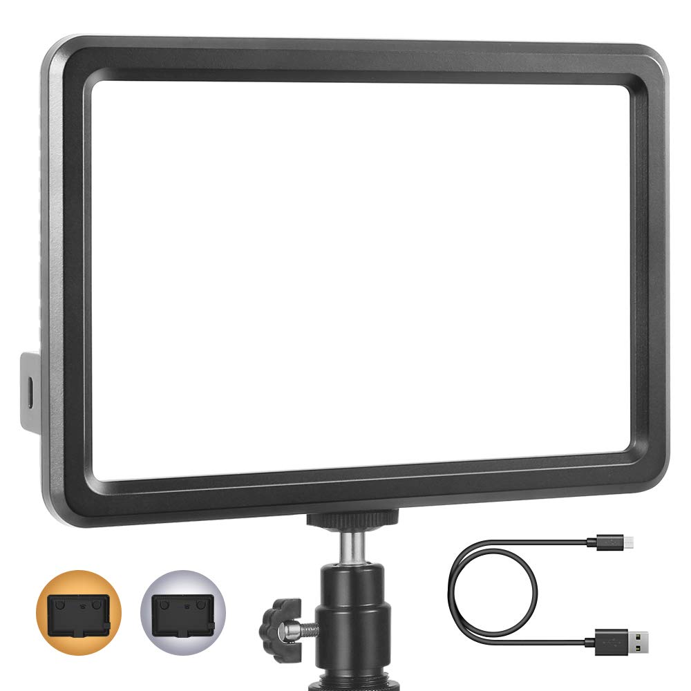 RALENO Led Video Light, Panel Light Built-in 5000mA Lithium Battery, 3200K-6500K White and Warm Light Adjustable, with Hot Shoe Ball Mount, USB Cable 104 LED Light for All DSLR Cameras