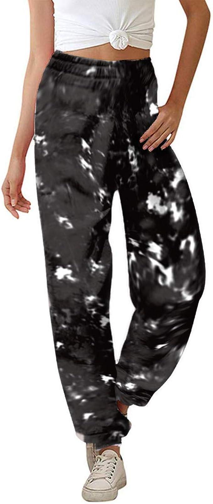 Freizeithosen Hohe Taile Sweathose Pyjamahose aus Baumwolle KOJOOIN Damen Sporthosen Lange Jogginghose Loose Fit Trainingshose mit Taschen und Kordelzug