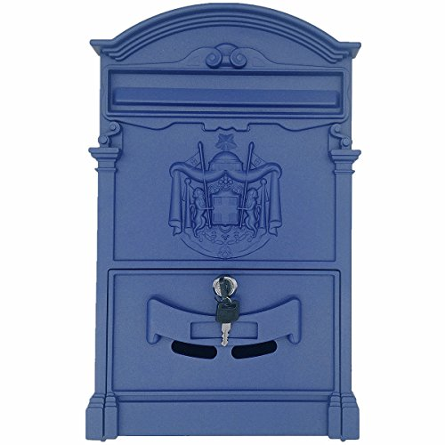 (Doitb Retro Vintage European Style Outside Aluminum Wall Mount Post Box Mailbox Letterbox Outdoor Mailboxes (Royal)