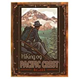 Wood-Framed Pacific Crest Metal Sign: Travel Decor Wall Accent for kitchen on reclaimed, rustic wood