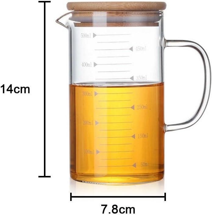 Liteness Vaso medidor de Cristal Resistente al Calor,Jarra Vaso Escala Vaso con Cubierta de bamb/ú Ideal para t/é y caf/é Everyone