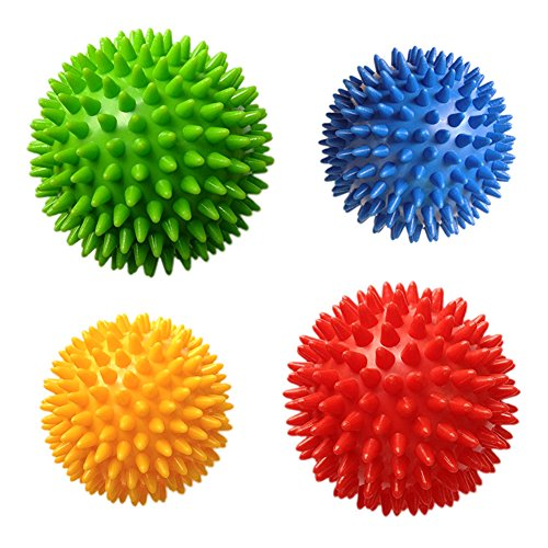 Spiky Massage Balls 4PCS Massage Roller Ball, Deep Tissue Trigger Point, Foot & Neck, Back Massager, Plantar Fasciitis Therapy, Relieve All Over Body Muscle Pains, Hard & Soft Combo Massage Balls Set