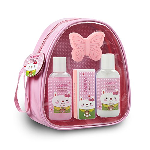 Holiday Gifts, Kids Bubble Bath Spa Bag - 5 Piece Bath Set Bag with Heavenly Watermelon Fragrance Includes Bubble Bath, Body Lotion, Butterfly Soap, Nail File and Sturdy Carry Bag