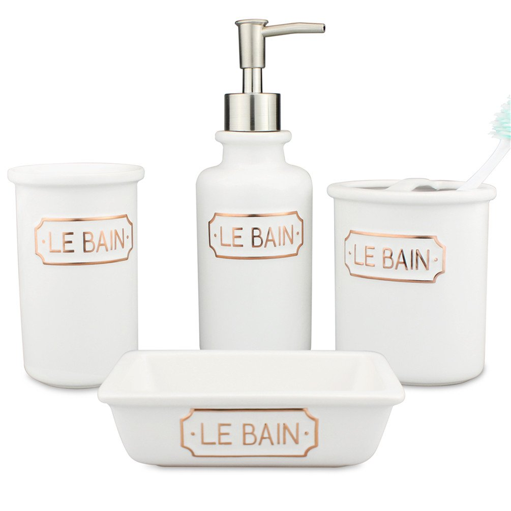 4-Piece Ceramic Bathroom Accessories Set Matt White With Golden LE BAIN Alphabet - Porcelain Includes Toothbrush Holder, Tumbler, Soap Dish, Dispenser Pump - Pottery Modern and Contemporary Design