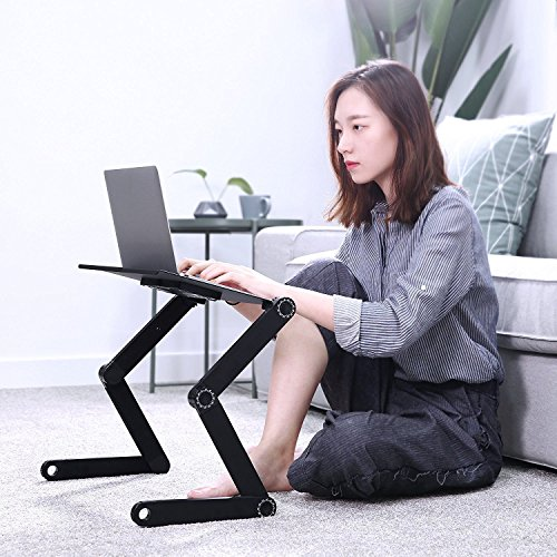 Portable Laptop Stand, Cozy Aluminum Vented Lap Workstation Desk with Mouse Pad, Foldable Book Reading Stand Notebook Tablet Holder on Sofa, Adjustable Bed Table Tray, 2 CPU Cooling Fans, Black by RAINBEAN