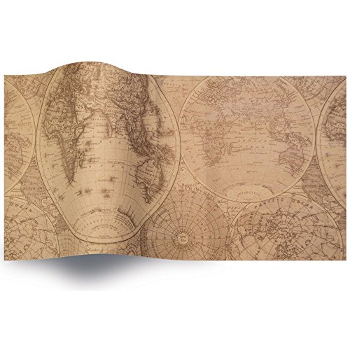 Tissue Paper for Gift Wrapping with Design (Vintage World Map), 24 Large Sheets (20x30)
