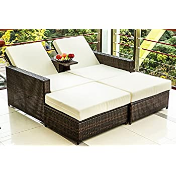 Lounge sofa rattan  Amazon.com : Merax 3 PC Outdoor Rattan Patio Furniture Wicker Sofa ...