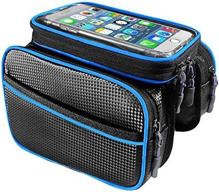 自転車フレームバッグ、敏感なタッチスクリーン付き自転車携帯電話バッグ、高輝度反射ストリップ(5L)