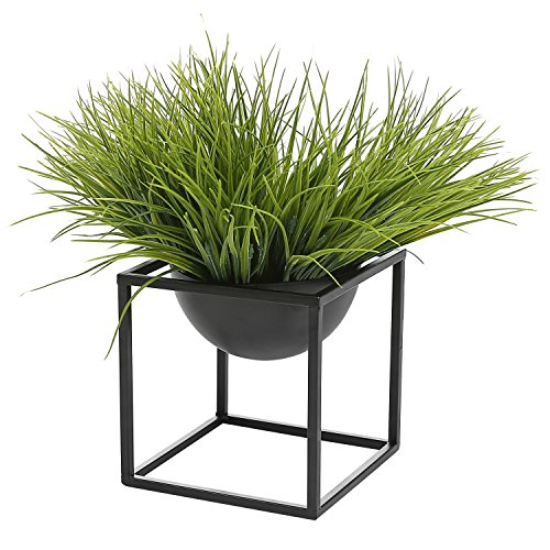 - Modern Metal Cube Frame Planter Bowl, Decorative Accent Vase with Attached Framework Stand, Black