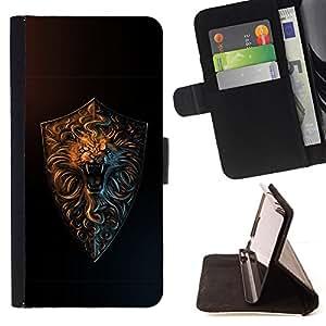 BullDog Case - FOR/Sony Xperia Z3 D6603 / - / cool lion roar gold /- Monedero de cuero de la PU Llevar cubierta de la caja con el ID Credit Card Slots Flip funda de cuer