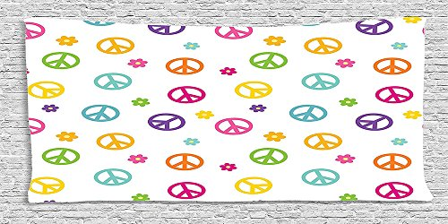 Chinese Peace Sign (Cotton Microfiber Bathroom Towels Ultra Soft Hotel SPA Beach Pool Bath Towel Groovy Decorations Collection Peace Symbol Old Lifestyle Sign Slogan Celebration Merry Jolly Theme)