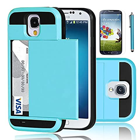 Galaxy S4 Case, EC™ Samsung Galaxy S4 Wallet Case, Hybrid High Impact Resistant Protective Shockproof Hard Shell with Card Holder Slot Cover for Samsung S4 IV I9500 (Light (Galaxy S4 Cases With Card Holder)