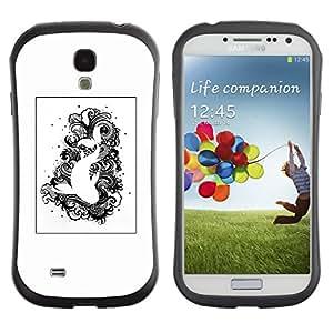 Fuerte Suave TPU GEL Caso Carcasa de Protección Funda para Samsung Galaxy S4 I9500 / Business Style Black White Drawing Fish Swimming