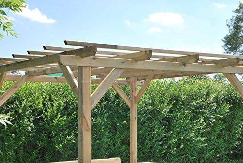 Pérgola clásica rectangular de madera para jardín - medidas H215cm x 300 cm x 300 cm: Amazon.es: Jardín