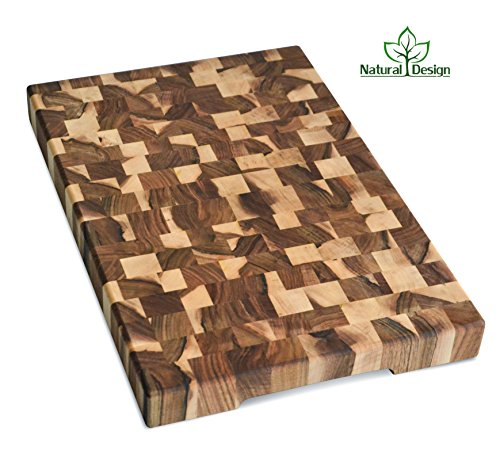 Cutting Board 18 x 12 x 1.6 inch End Grain Chopping Block Hardwood Extra Thick Wood: Walnut Cherry Oak Canadian Oak Ash-tree Walnut Beech Durable & Resistant ()