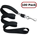 MIFFLIN Flat Non-Breakaway Lanyards for ID Badges, Comfortable Neck Straps (Satin Black, 36 inch, 100 Pack)