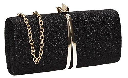 Strap Womens Clutch Wedding Daisy Black Party Gold Glitter Prom Metallic SWANKYSWANS Bag wzXx8IdqI