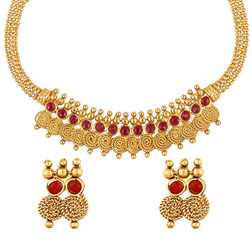 bodha 22K Traditional Indian Bollywood Designer Gold Coin Necklace Jewelry Set for Girls & Women (SJ_2690) ()