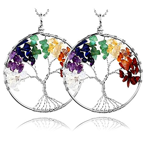 Top Plaza 2pc 7 Chakra Tumbled Stones Wire Wrap Tree Of Life Healing Crystal Pendant Necklace, Mother's Day Gift(Silver - Crystal Wrap Necklace