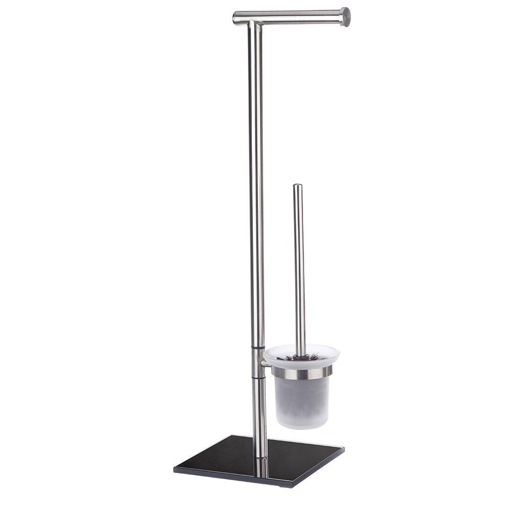 Wenko Lima - Juego de pie para el WC, de acero fino inoxidable y vidrio, 23.5 x 69 x 20 cm, color negro 20391100