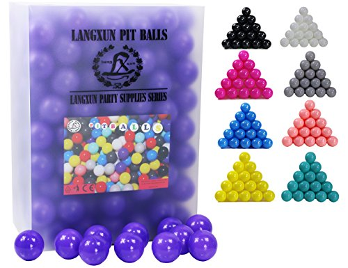 Langxun Pack of 200 Purple Ball Pit Balls - Phthalate Free BPA Free Crush Proof Plastic Ball | Ideal Gifts for Kids & Photo Booth Props for Baby and Kids