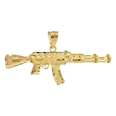 14k solid gold ak 47 rifle machine gun pendant lablingz amazon 14k solid gold ak 47 rifle machine gun pendant aloadofball Image collections