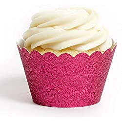 Dress My Cupcake Standard Magenta Reusable Glitter Cupcake Wrappers, Set of 12