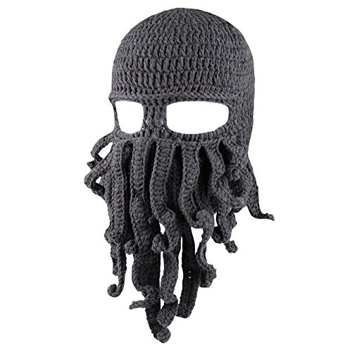 Zuozee Octopus Beanie Hat,Octopus Mask Beard Balaclavas,Halloween Costume Christmas - Cool Movie Themed Costumes