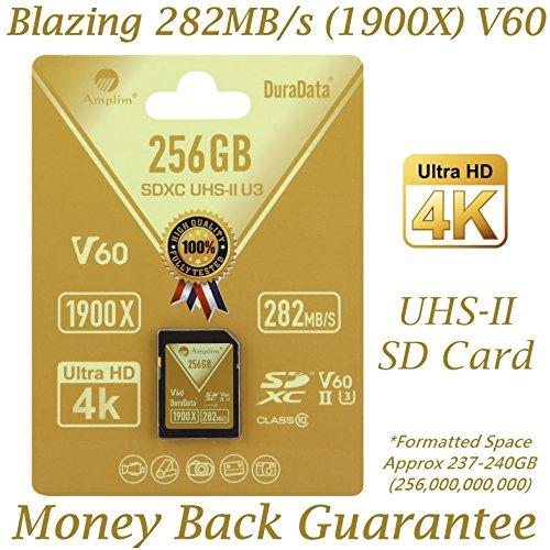Amplim 256GB UHS-II SDXC SD Card. Blazing Fast Read 282MB/S (1900X). Class 10 U3 Ultra High Speed V60 UHSII Extreme Pro SD XC Memory Card. 4K 8K Professional Video 256 GB / 256G TF Flash. New 2018 by Amplim