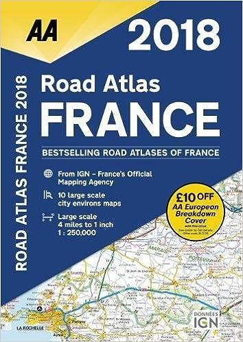 A4 Map Of France.2018 Road Atlas France Aa Road Atlas Aa Publishing 9780749578725