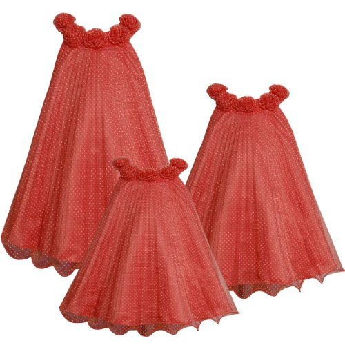 Bonnie Jean Baby/INFANT 12M-24M CORAL WHITE FLOCK PIN DOT CRYSTAL PLEAT MESH TRAPEZE Special Occasion Flower Girl Easter Party Dress