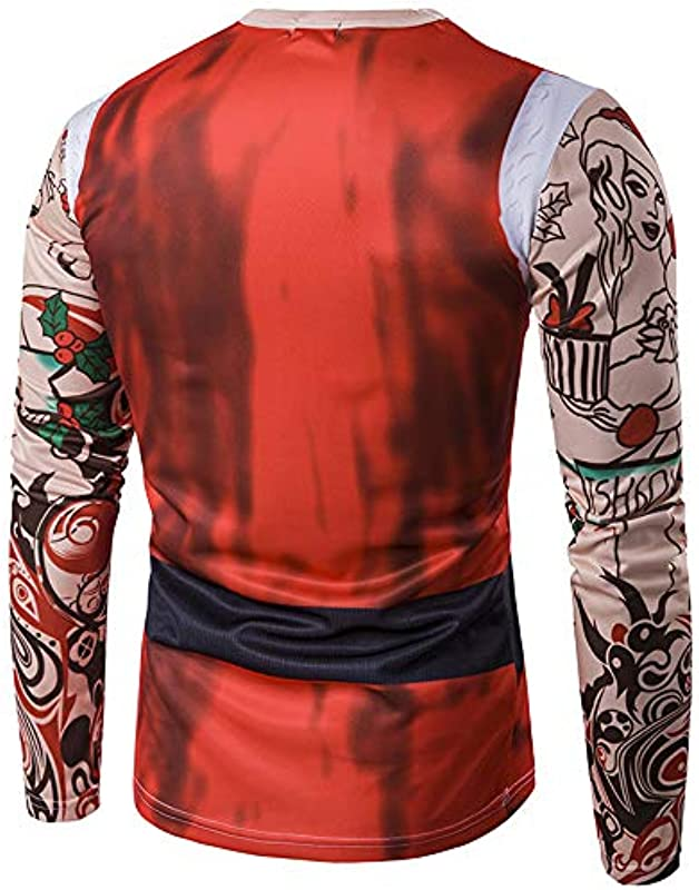 Nibesser męski sweter świąteczny 3D nadruk koszulka z długim rękawem O-Neck kołnierz szpula bożonarodzeniowa sweter z dzianiny okrągły dekolt sweter z choinką: Nibesser: Odzie