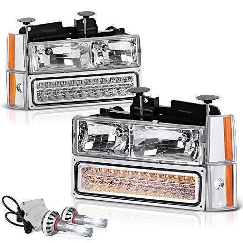 VIPMotoZ 1988-1993 Chevrolet C/K 1500 2500 3500 Pickup Suburban Blazer Headlights - Built In Cree LED Low Beam, Metallic Chrome Housing, Driver and Passenger Side