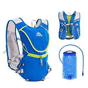 Triwonder Professional Outdoors Mochilas Trail Marathoner Running Race Hydration Vest Hydration Pack Backpack (Blue - with 1.5L Water Bladder)