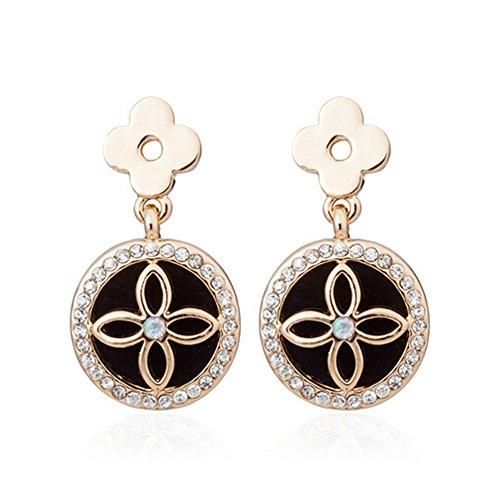 Elakaka Women's Retro Style Round Flower Diamond Jewelry Earrings (Posh Spice Costume)
