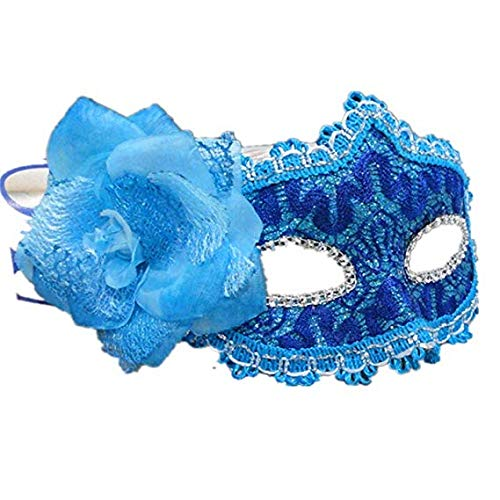 MMMMM Face mask Shield Veil Guard Screen Domino False Front Halloween New Year's Day Ball Princess Mask Lace Party Half Face Mask Blue,Blue