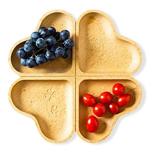 Decorative Wooden Divided Appetizer Plates Wedding Christmas Dessert Fruit Tray Cookie Platter Heart Gift ()