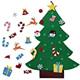 3FT DIY Felt Christmas Tree Set with Handmade 26 Detachable Ornaments New Year Xmas Gifts Kids Toddlers Door Wall Hanging Decor
