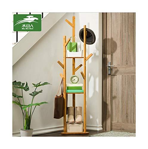 Jeeke Bamboo Clothes Laundry Coat Rack Tree Stand Coat Hanger 8 Hooks 3-Layer Shelf,High-Grade Wooden Tree Coat Rack Stand for Clothes Suits Accessories,Ship from USA