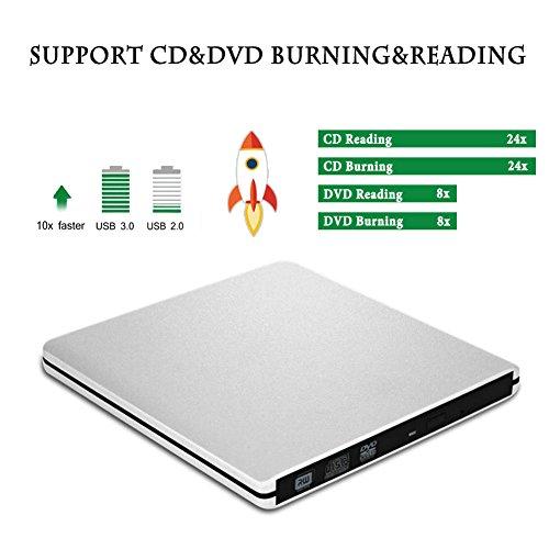 External DVD CD Drive, Sunreal USB 3.0 Portable CD/DVD-RW Player/Burner/Writer, Optical DVD Superdrive for Laptop/Desktop/Computer Support Windows by Sunreal (Image #2)'