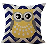 Cartooon Owl Printed Cushion Cover LivebyCare Linen Cotton Cover Throw Pillow Case Sham Pattern Zipper Pillowslip Pillowcase For Decor Decorative Drawing Living Room