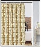 Waterfall Ruffled Fabric Shower Curtain (IVORY)