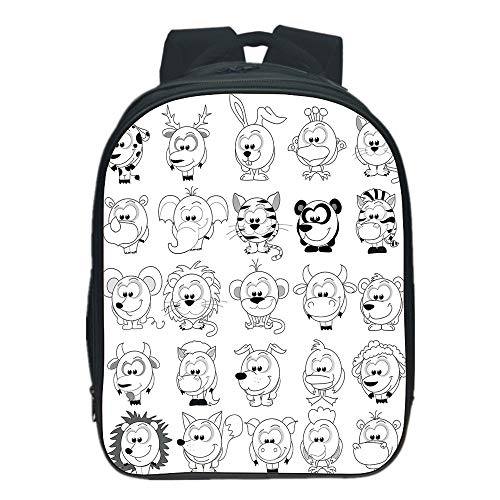 iPrint Comfortable Kids School Backpack,Doodle,Assortment of Cartoon Style Animals Cat Zebra Girraffe Pig Panda Monkey Animal Fun,Black White,for Children,Diversified Design.13.0
