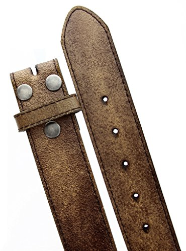 """Womens Vintage Look Distressed Leather Strap Belt Snap On (S(30""""-32""""), Brown)"""