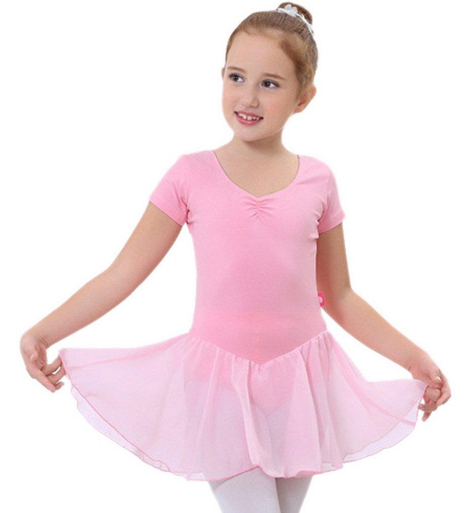 Happy Cherry Mädchen Atmungsaktiver Elastischer Balletttrikot mit Chiffo Röckchen Ballettanzug Ballettkleid Für Körpergröße