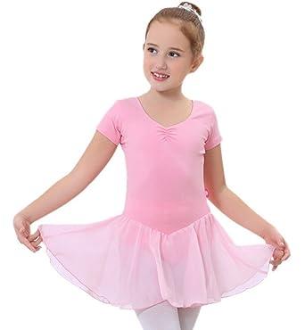 Happy cherry - Niñas Traje Vestido Tutú de Ballet Baile Falda de Danza Maillot Ropa de Gimnasia Leotarto Clásico de Encaje con Manga Corta Elástico - ...