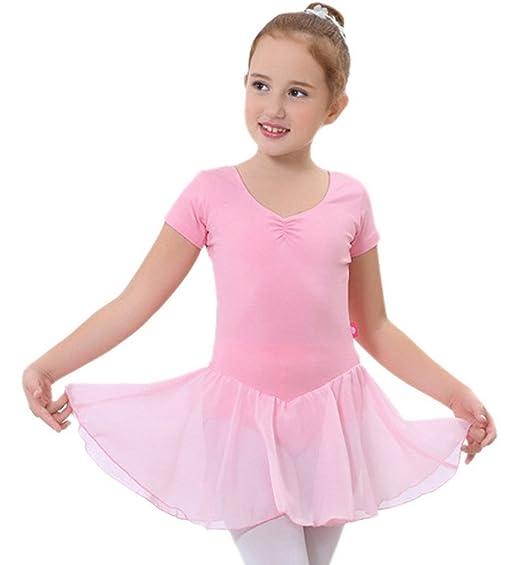 Happy Cherry Niñas Traje Vestido Tutú De Ballet Baile Falda De Danza Maillot Ropa De Gimnasia Leotarto Clásico De Encaje Con Manga Corta Elástico