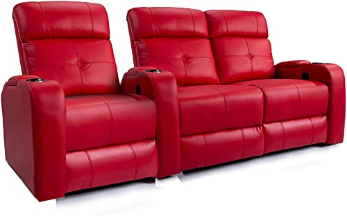 Valencia Verona Home Theater Seating Premium Top Grain 9000 Leather, Power Recliner, LED Lighting Row of 3 Loveseat Right, Red