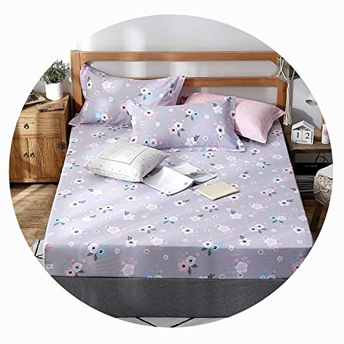 Qianqian Paper Crane 1pcs 100% Cotton Printed Solid Fitted Sheet Mattress Cover Four Corners with Elastic Band Bed ()