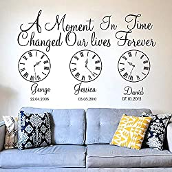 ONZFLXM Custom Name Kids Birth Date Wall Decal Kids Room Bedroom A Moment in Time Changed Our Lives Clock Wall Sticker Vinyl Nursery Art 110cmx72cm